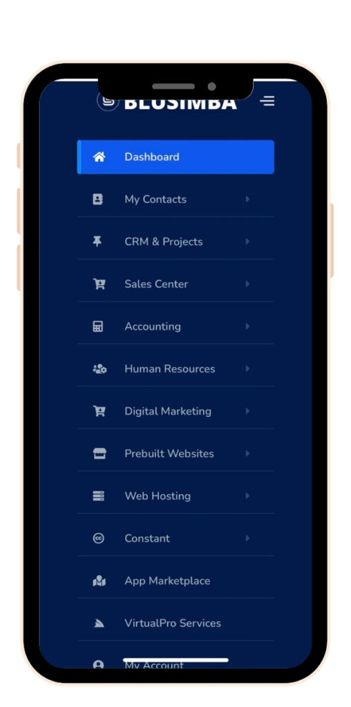 Blusimba Virtual Office Mobile Dashboard